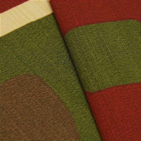 Tecido Quadrados Abstratos Marrom Claro, Vermelho Escuro e Verde - Turquesa 43