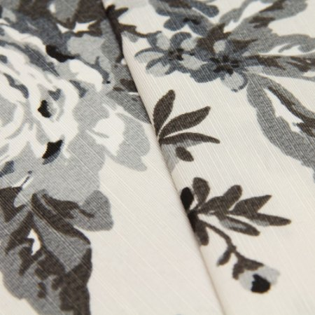 Tecido Folhagem Tons de Preto e Cinza Chumbo, fundo Branco - Turquesa 51