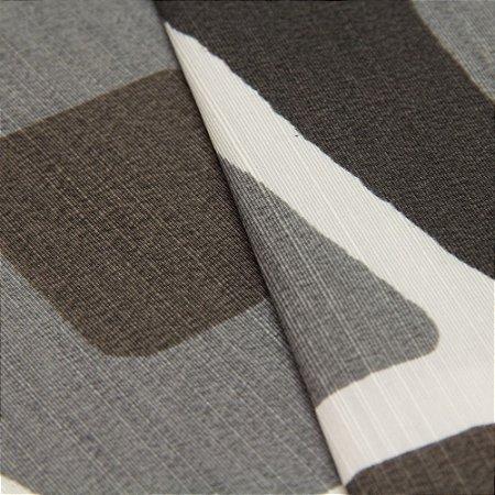 Tecido Quadrados Abstratos Preto, Cinza Chumbo e Creme - Turquesa 53