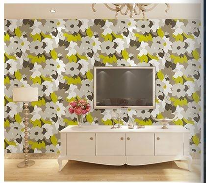 Papel de parede vinílico Floral Verde, Cinza e Branco - Metrópole 820605