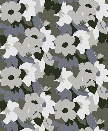 Papel de parede vinílico Floral Verde, Cinza e Branco - Metrópole 820604