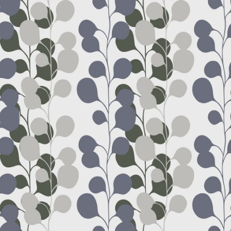 Papel de parede vinílico Floral Verde, Cinza e Branco - Metrópole 820104