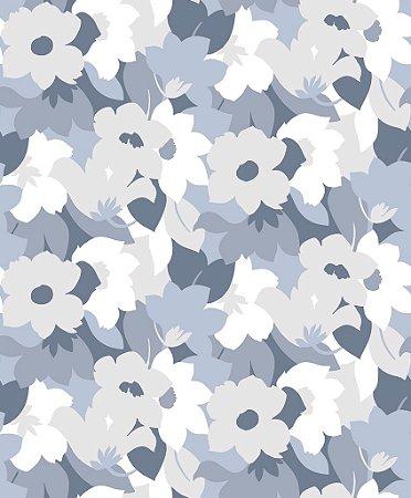 Papel de parede vinílico Floral Branco, cinza e Azul Claro - Metrópole 820603