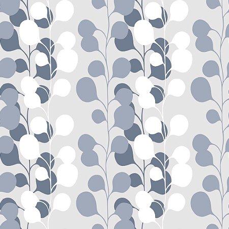 Papel de parede vinílico Floral Branco, cinza e Tons de Azul - Metrópole 820103