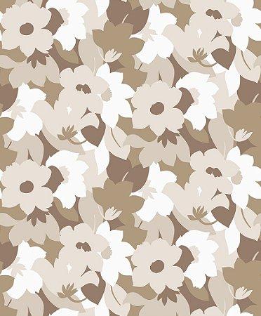Papel de parede vinílico Floral tons de Marrom e Branco - Metrópole 820602