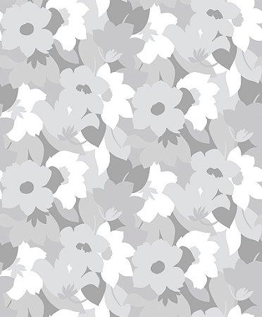 Papel de parede vinílico Floral tons de Cinza e Branco, com leve brilho - Metrópole 820601