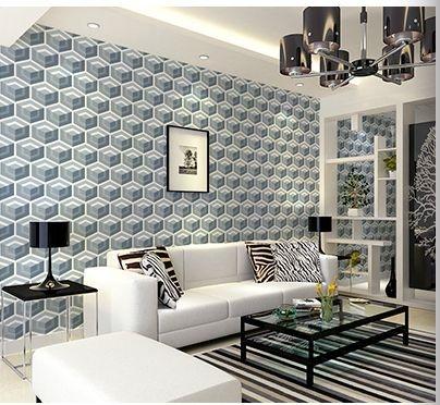Papel de parede vinílico Geometrico Tons de Azul, Cinza e Branco - Metrópole 820203