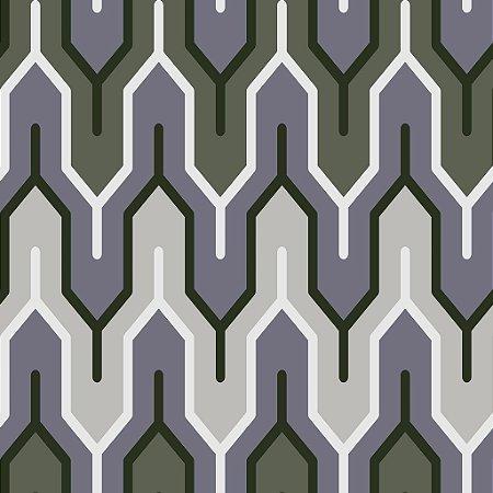 Papel de parede vinílico Geometrico Tons de Verde, Cinza e Branco - Metrópole 820303