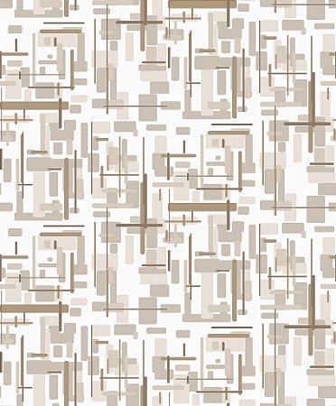 Papel de parede vinílico Abstrato Tons de marrom claro e Branco - Metrópole 820402