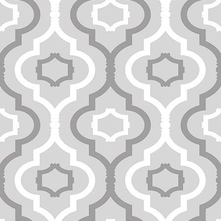 Papel de parede vinílico Gradil Branco tons de Cinza - Metrópole 820701