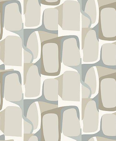 Papel de parede vinílico Abstrato Branco, Tons de Bege e Azul Claro - Metrópole 820802