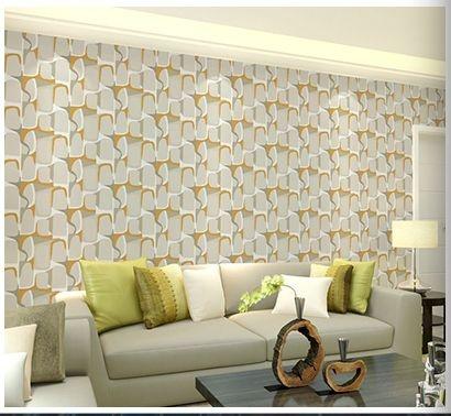 Papel de parede vinílico Abstrato Mostarda, cinza e Branco - Metrópole 820804