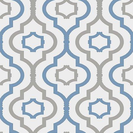Papel de parede vinílico Gradil Branco, Azul e Cinza - Metrópole 820703