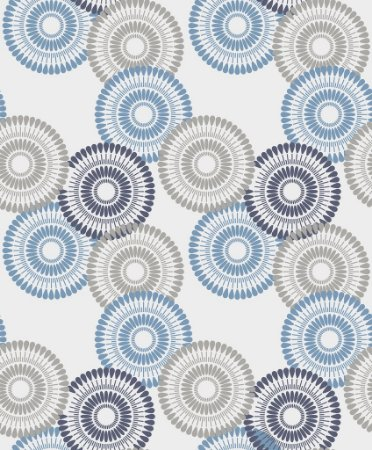 Papel de parede vinílico Circulos Azul, Cinza e Branco - Metrópole 820903