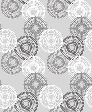 Papel de parede vinílico Circulos Tons de Cinza e Branco - Metrópole 820901