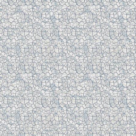 Papel de parede vinílico Estilo Cimento Trincado tons de Cinza e Azul Claro - Metrópole 821103