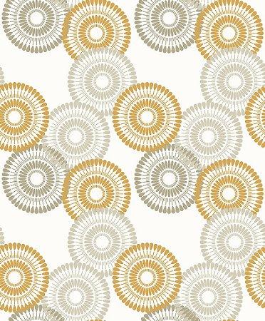 Papel de parede vinílico Circulos tons de mostarda e Cinza Claros - Metrópole 820904