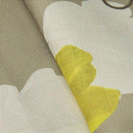 Tecido Jacquard Floral Tons de Verde, Amarelo e Branco - Irl 23