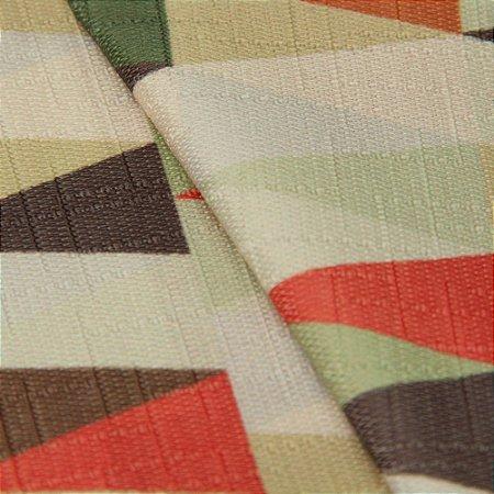 Tecido Jacquard triangulos Vermelho, Verde, cinza, bege  - Irl 25