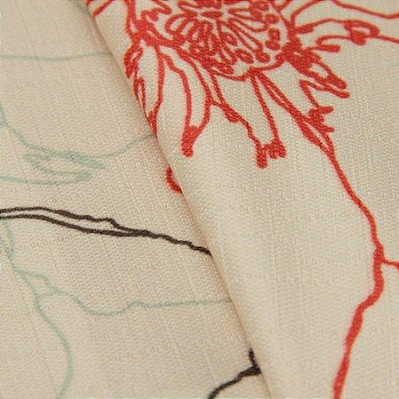 Tecido Jacquard Floral Bege, vermelho e cinza - Irl 30