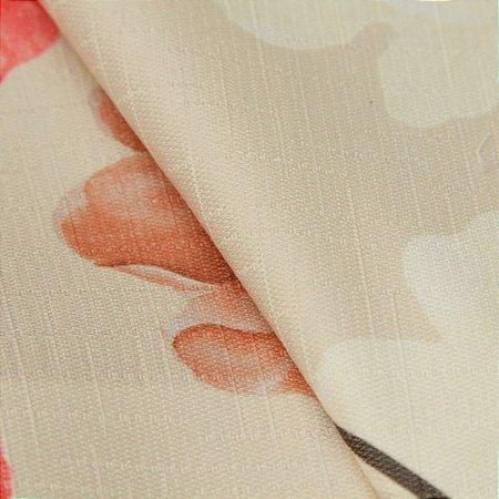 Tecido Jacquard Floral Bege, vermelho, Laranja  e Cinza - Irl 31