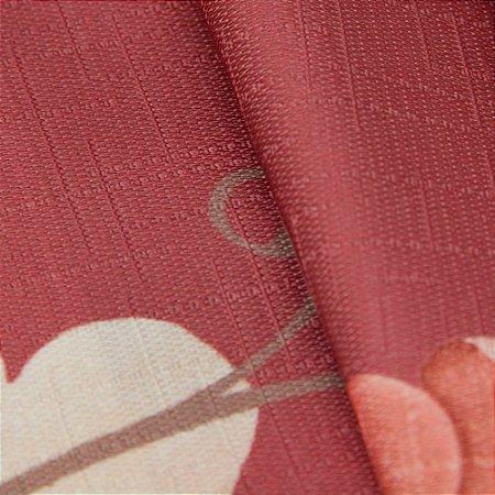 Tecido Jacquard Floral Bordo, rosa e Vermelho - Irl 41