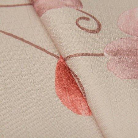 Tecido Jacquard Floral Fundo rose claro, Vermelho e Roxo - Irl 46