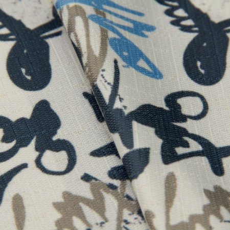 Tecido Jacquard Estilo Assinaturas, Branco, Cinza e Tons de Azul - Irl 47