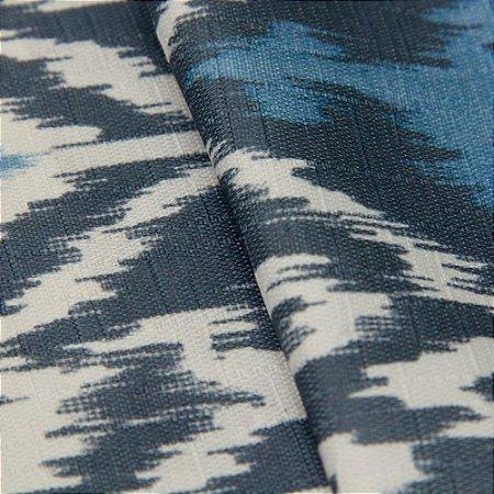 Tecido Jacquard Ikat Branco e Tons de Azul - Irl 49
