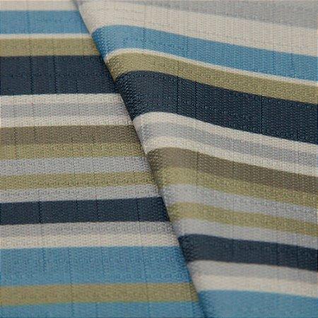 Tecido Jacquard Listrado tons de Azul, Verde e Branco - Irl 52