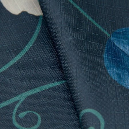 Tecido Jacquard Floral Fundo Marinho e flores Creme, Azul e Verde - Irl 56