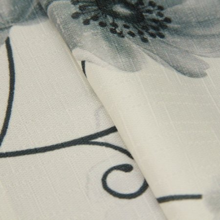 Tecido Jacquard Flora cinza e fundo Branco- Irl 63