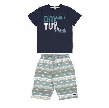 Conjunto infantil menino azul e short em listras Alakazoo