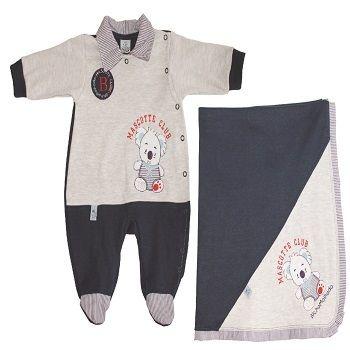 Kit Saída de maternidade (macacão e manta) Mascote Club tam P