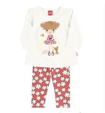 Blusão forrado e calça cotton feminino Kyly menina patinadora com cachorrinho