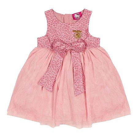 Vestido de festa infantil rosa Hello Kitty em tafetá Premium