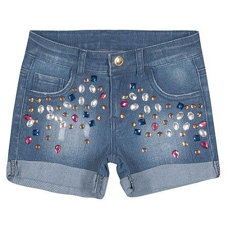 Bermuda jeans infantil com pedras Hello Kitty