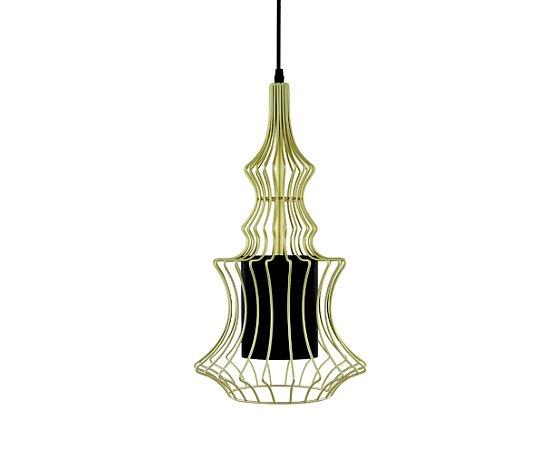 Pendente em metal dourado com cúpula interna em tecido preto - 6591 Mart Collection