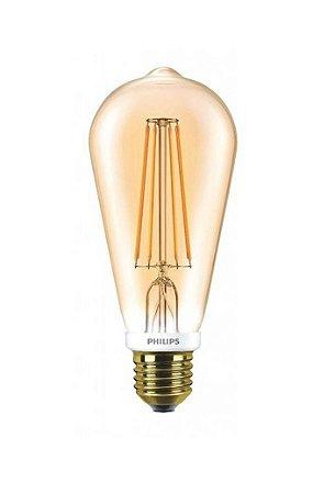 Lâmpada de Filamento LED 5W 127V Ambar 2200k ST64 Dimerizável Philips