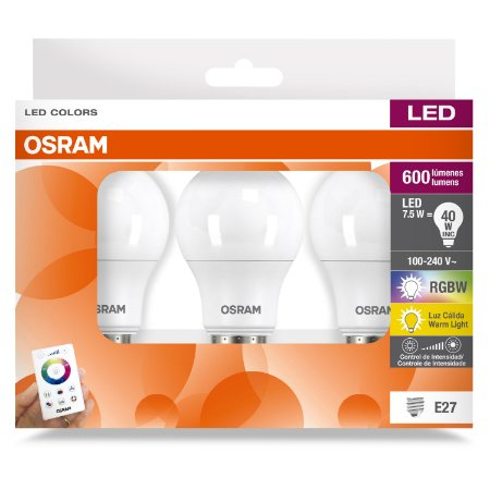 Kit 03 lâmpadas Leds Bulbo RGBW 7.5W 600LM E27 Biv Osram