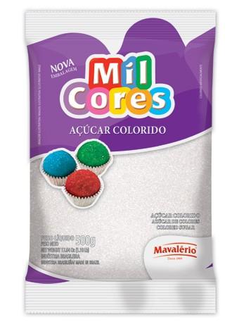 Açúcar Colorido Mil Cores Branco 500g - Mavalério
