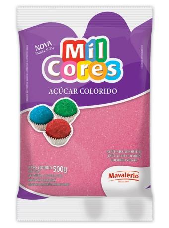 Açúcar Colorido Mil Cores Rosa 500g - Mavalério