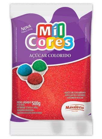 Açúcar Colorido Mil Cores Vemelho 500g - Mavalério