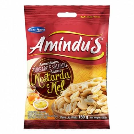 Amindu' S Amendoim Torrado e Salgado Sem Pele Sabor Mostarda & Mel 150g - Catelândia