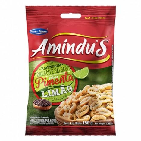 Amindu' S Amendoim Torrado e Salgado Sem Pele Sabor Pimenta com Limão 150g - Catelândia