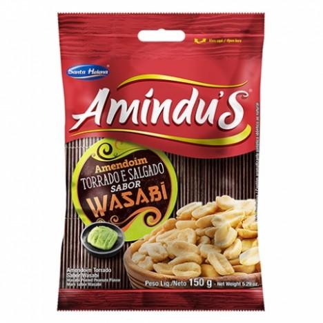 Amindu' S Amendoim Torrado e Salgado Sem Pele Sabor Wasabi 150g - Catelândia