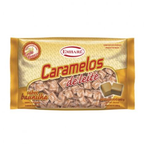 Balas de Caramelos Leite Sabor Baunilha 840g - Embaré