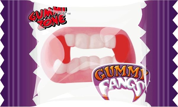 Balas de Gelatina Dentadura de Vampiro 24 UN - Embaladas Individualmente