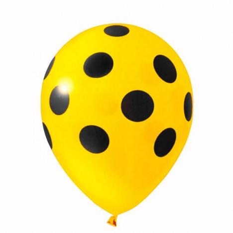 Balões Poá Amarelo com Bolinhas Pretas 11 Polegadas 25 Un - Catelândia