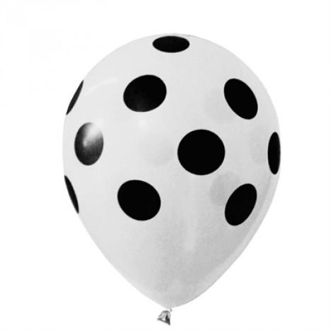 Balões Poá Branco com Bolinhas Pretas 11 Polegadas 25 Un - Catelândia